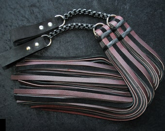 "Set of 2, Heavy Chainmail Poi Floggers in black and burgundy leathers with blackened steel ""Japanese 8:4"" chainmail"