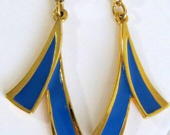 Gold tone blue drop earrings