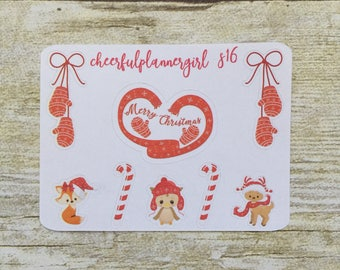 Christmas Critters Small Sampler Planner Stickers Set S16