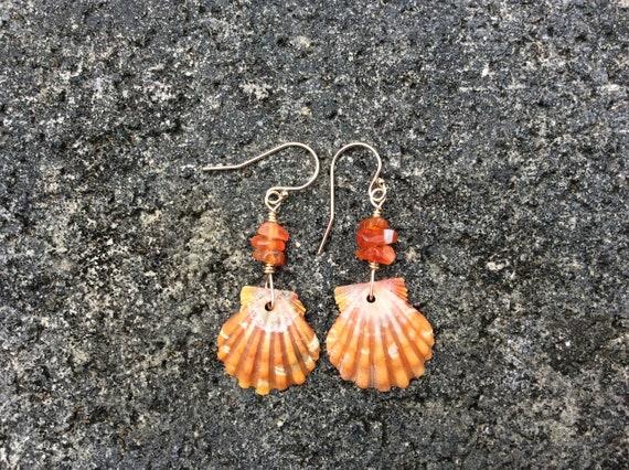 Hawaiian Sunrise Shell, Carnelian Dark Chip Beads, 14k Gold Filled Earrings