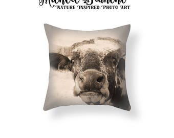 Cow Photo Pillow, Texas Longhorn Decor, Curious Cow Toss Pillow, Sepia Monotone Pillow cover, Grinning Cow Throw Pillow, Barnyard pillow