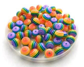 40 Rainbow Stripe Acrylic Beads resin stripes 8mm