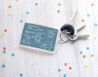 Cute Cat Keychain, Blueprints Keychain, Technical Drawing, Architect Gift, Technical Artist Gift, Inventor Gift,  Cat Lover Gift