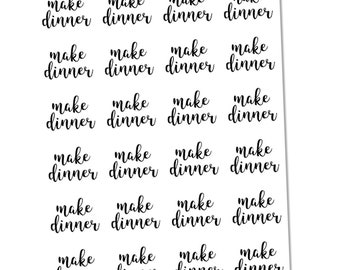 Make Dinner Script Sheet, Planner Stickers, Functional Stickers, Lettering Stickers
