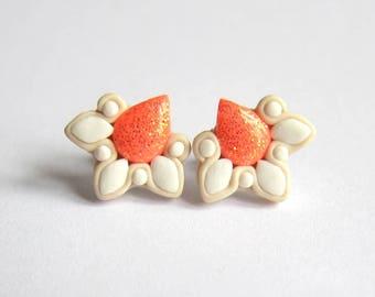 Peach Earrings, Coral Earrings, Salmon Earrings, Wedding Earrings, Wedding Jewelry, Bride Earrings, Bridesmaid Earrings Flower Girl Jewelry