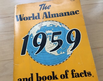 1959 World Almanac and Book of Facts Vintage Paperback Book Published by New York World-Telegram & The Sun Book Pages Crafts Assemblage