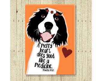 Springer Spaniel Dog Fridge Magnet, Happy Dog, Proverbs 17:22, Merry Heart, Inspirational, Motivational, Scripture Verse Gift