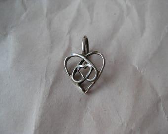 Heart Filigree Sterling Pendant Silver Vintage 925