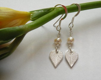 Fine silver leaf and freshwater pearl earrings