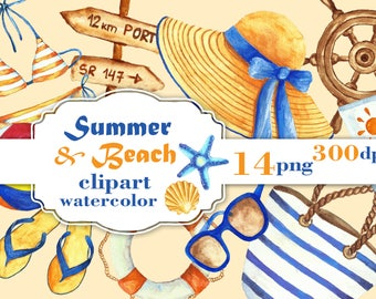 Summer & Beach Watercolor Clipart, Summer Clip Art, Beach Clip Art, Summer Clipart, , Vacation Clipart, Swimsuit  straw hat watercolor.
