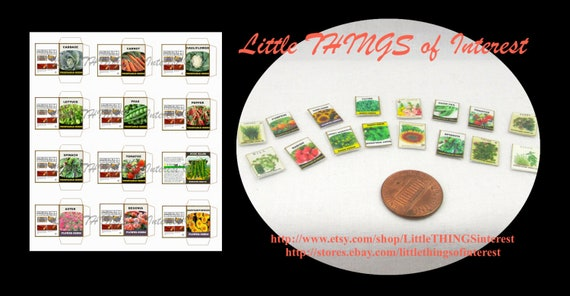 Dollhouse Doll SEED PACKETS Miniature PDF Sheet for Dollhouse 1:12 Scale Dollhouse Accessory
