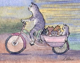 Cat carriage signed art 8x10 print cat on a bike riding a bike bicycle tabby cat and kittens from watercolor painting by Susan Alison