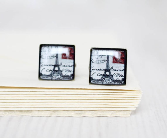 Paris Cufflinks - Eiffel Tower cuff links  - Wedding Gifts for Groomsmen - Cuff links for him