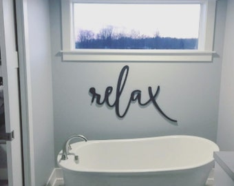 Painted Relax Wood Word Cut Out Wall Art Sign Decor