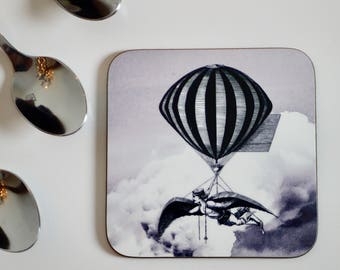 Steampunk Balloon Coasters - Set of 4 - Vintage Steam Punk Grey Flying Contraption - Kitsch Republic