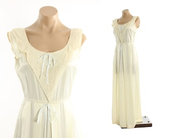 Vintage 40s Nightgown Ivory Rayon Floor Length Lace Gown Womens Lingerie 1940s Small S Medium M