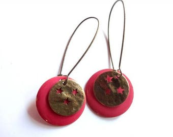 Boucles d'oreilles - By Night - sequins émaillés roses