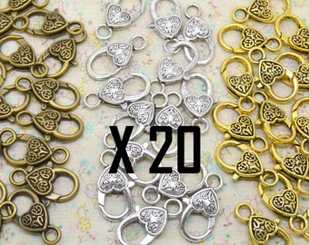 20 x heart metal clasp bronze or silver 25 / 12mm