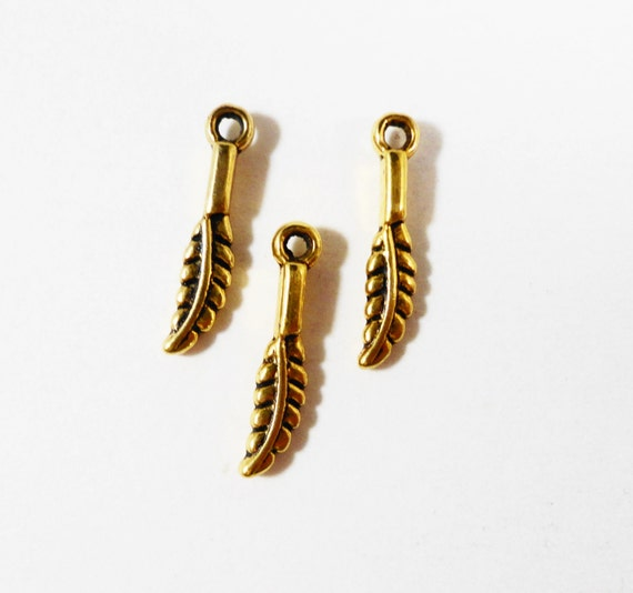 Gold Feather Charms 16x3mm Antique Gold Metal 2 Sided Small Feather Nature Leaf Charm Pendants, Jewelry Making Findings, Craft Supplies 20pc