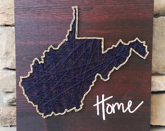 West Virginia string art home state sign