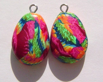 Gum Drops Style Charm Handmade Artisan Polymer Clay Beads Pair