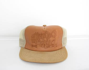 Budweiser Snapback Hat / Tan Leather & Corduroy / Clydesdale Etching / Vintage Mesh Trucker Cap