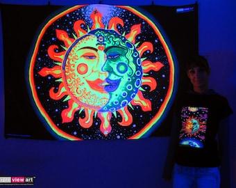 Sun+Moon UV Black Light Fluorescent Glow Psychedelic Psy Goa Trance Art Backdrop Wall Hanging Home Club Party Festival Deco Love Meditation