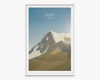 Eiger, Switzerland (Mountain Art Print, Mountain Poster / Swiss Mountains, Gift, Alps)