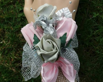 Baby pink and silver wrist corsage