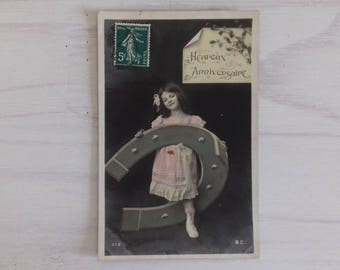 Anniversary colorized postcard and postmarked 1908, french antique postcard