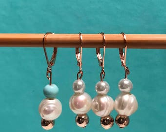 Real freshwater pearl stitch markers (set of 4)