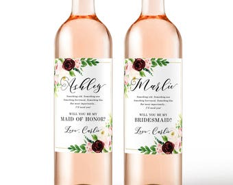 Will you be my bridesmaid? wine labels, bridesmaid wine labels - Fall Wedding Bridesmaid Proposal or Maid of Honor Box Bridal Party Gift