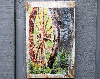 Rustic Wagon Wheel Against a Birch Tree, Fine Art Photograph Manually Transferred to Reclaimed Wood and Ready to Hang in Your Home