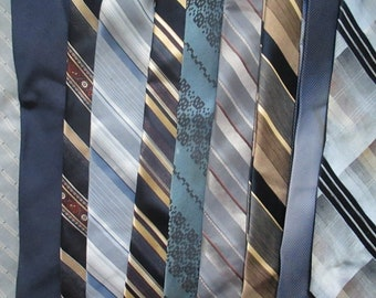 Vintage Lot (10) Neck Ties BLUES Crafting Quilting