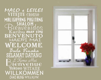 Welcome wall decals, International Welcome, School Office Decor, Global Greetings, Library wall sign, Language School Decor, back to school