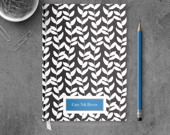 Personalized Notebook Journal | Personalized Hardcover Journal | Black and White Notebook | Black and White Journal for Him | PSNTB_0006