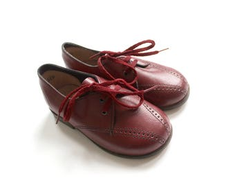 French vintage 70's / kids shoes / burgundy leather / made in France / new old stock / Size 20 EU / US 4,5 / US 3,5