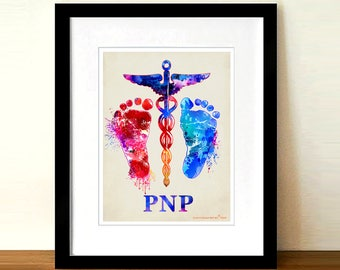 "Watercolor Pediatric Nurse Practitioner - Caduceus -baby feet print,8.5""x11"", Nurse Practitioner Gift, Neonatology, Pediatric print,PNP gift"