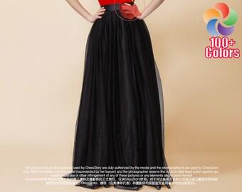 Black Tulle Maxi Skirt - Black Maxi Skirt - Black Satin Maxi Skirt with Tulle Overlay - Full Length Skirt - Floor Length Skirt - SK15N406