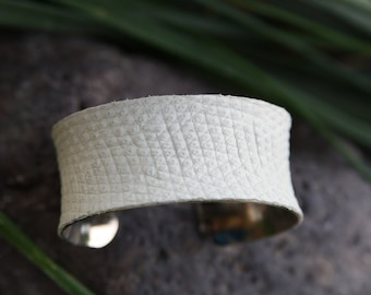Lizard Leather Cuff Bracelet - White 1 inch Concave Cuff