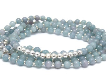 Gemstone Necklace-Jade & silver-plated beads