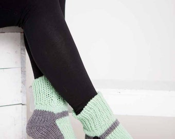 Knit Slipper Sock Adult Mary Jane Slippers Sox Mint Green House Slippers Womens Slippers Home Slippers Gray House Shoes Grey Home Shoes