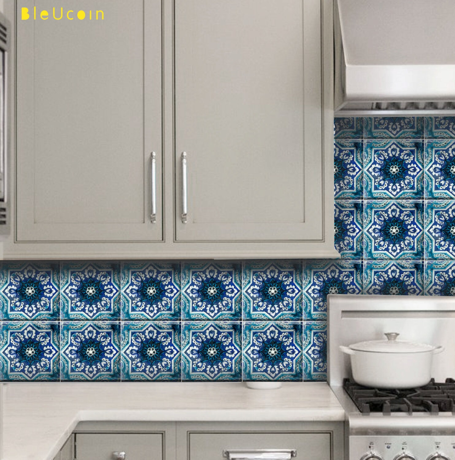 Tile/wall decal : Indian Blue pottery diamond design