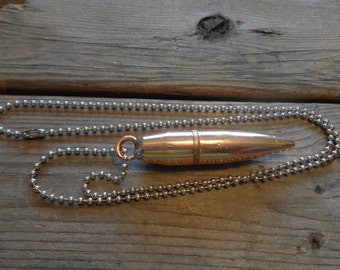 Bullet necklace 762mm 556mm remington 38 special bullet bullet necklace with upcycled surplus 50 caliber bmg bullet bullet necklaces bullet accessories bullet pendant bullet jewelry aloadofball Images