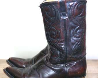 vintage men's acme brown leather cowboy boots size 9D