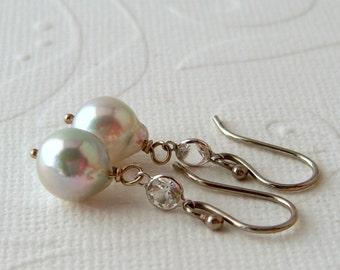 Blue Akoya beads 585er white gold & topaz, earrings, rare pearls, salt water beads