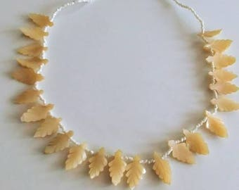 Antique mother of pearl leaf necklace