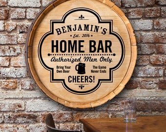 Personalized Barrel Top Sign - Personalized Sign - Home & Living - Housewarming Gift - Bar Sign - Mancave