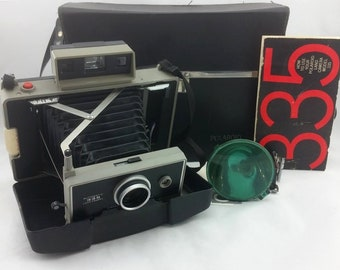 Vintage Polaroid Land Camera Automatic 335 With Flash Case & and Manuals