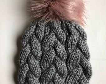 Hand Knit Braided Cable Beanie Grey Heather with Faux Fur Pom Acrylic Bulky Yarn Handmade Skiing Snowboarding Sledding Winter Snow Hat